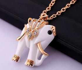 Good luck, beautiful elephant necklace, White